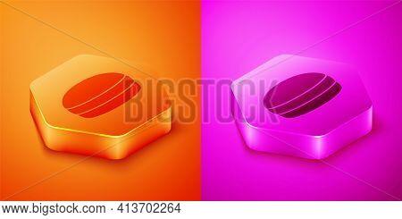 Isometric Macaron Cookie Icon Isolated On Orange And Pink Background. Macaroon Sweet Bakery. Hexagon