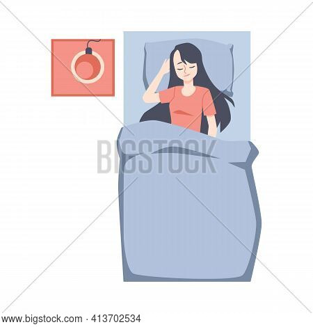 Brunette Woman Sleeping On Her Back In Bed Flat Vector Illustration Isolated.