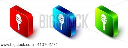 Isometric Maracas Icon Isolated On White Background. Music Maracas Instrument Mexico. Red, Blue And