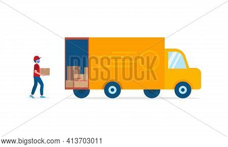Online Delivery Service Concept, Delivery Home And Office. Express Delivery Courier In Uniform Loads