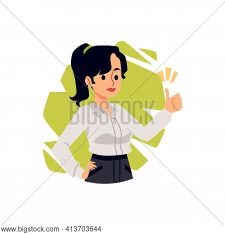 Portrait Of Positive Businesswoman Executive Or Entrepreneur Gesturing Of Ok Sign