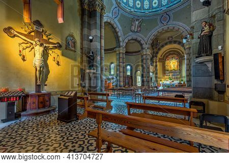 ALBA, ITALY - JUNE 23, 2020: Interiors of Madomma della Moretta catholic church in Alba - small town in Piedmont, Northern Italy, famous for white truffles and wine production.