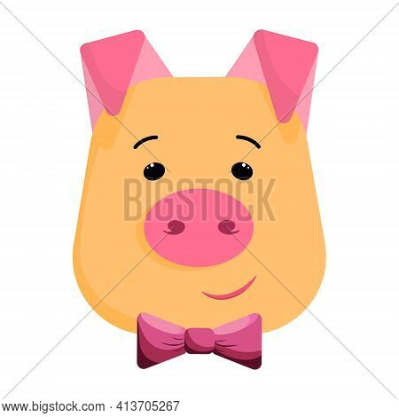 Nice Piglet Head With Bow Tie In Vector. Cartoon Character With Smile. Pretty Child Illustration.