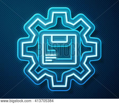 Glowing Neon Line Gear Wheel With Package Box Icon Isolated On Blue Background. Box, Package, Parcel
