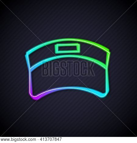 Glowing Neon Line Sun Visor Cap Icon Isolated On Black Background. Sport Equipment. Sports Uniform.