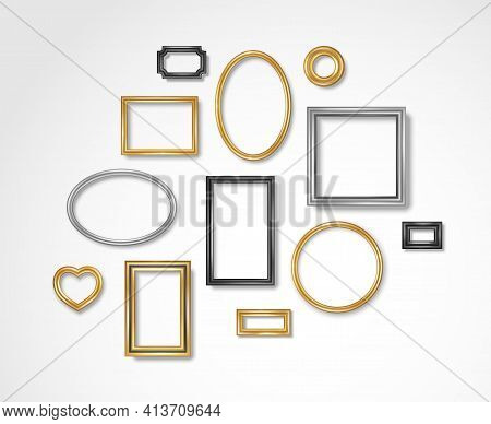 Set Of Vintage 3d Photo Frames On White Wall. Vector Illustration. Realistic Gold, Silver And Black