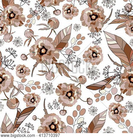 Peony And Roses Seamless Pattern. Drawn Floral Vintage Texture. Peonies Flowers, Exotic Eucalyptus L