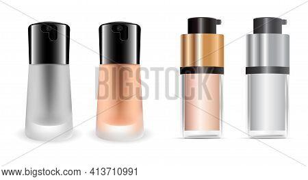 Cosmetic Foundation Cream Bottle. Face Liquid Concealer Product. Face Cream Pump Bottle Template, Lu