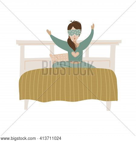 Wake Up Girl. Young Woman In Bed Yawning. Isolated Concept Of Start Good Day. Flat Hand Drawn Vector