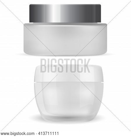Cream Jar. Cosmetic Package Mockup, Plastic Container Realistic 3d Vector. Face Skin Beauty Product,