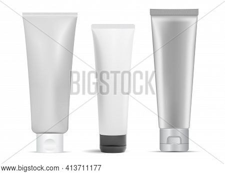 Cream Tube Mockup. Cosmetic Cream Package, Glue. Toothpaste Tube, Realistic 3d Product Blank. Facial