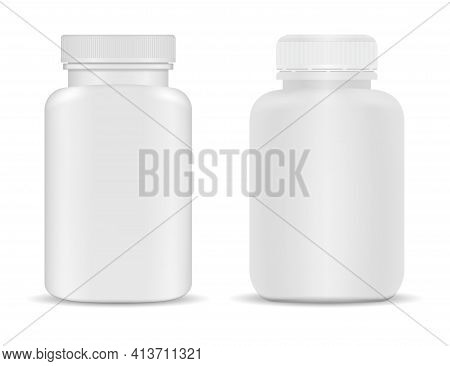 Pill Bottle. Medicine Supplement Bottle Mockup, 3d Vector Blank. Isolated Tablet Jar, Capsule Contai