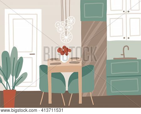 Trendy Dining Room Interior In The Apartment. Kitchen Design With Table, Lights, Chairs, Fridge, Vas