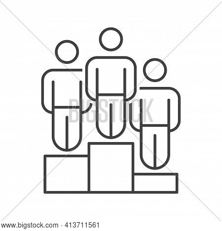 Icon People In The Three Prize-winning Places. Simple Linear Image Of People Standing On The Three P