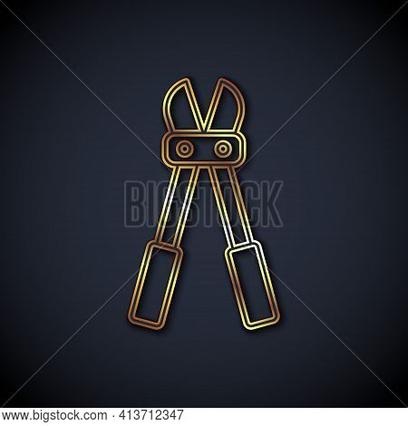 Gold Line Bolt Cutter Icon Isolated On Black Background. Scissors For Reinforcement Bars Tool. Vecto