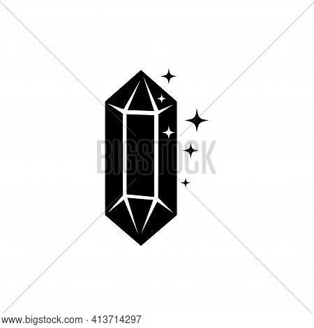 Sparkle Crystal, Gem Jewel, Precious Stone. Flat Vector Icon Illustration. Simple Black Symbol On Wh