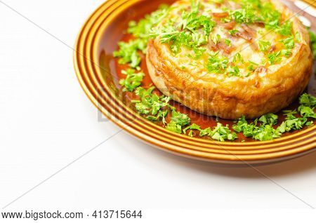 Quiche Lorraine, Smoked Bacon With Medium  And Mature Cheddar Cheese And Egg Quiche Filling In A Sho