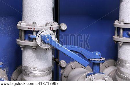 Gate Valve On The Pipeline Of A Gas Boiler Room. Gas Boiler House Equipment.