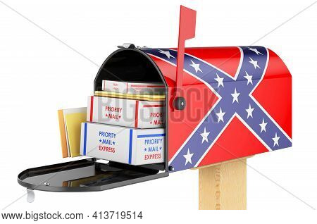Mailbox With Confederate States Of America Flag. 3d Rendering Isolated On White Background