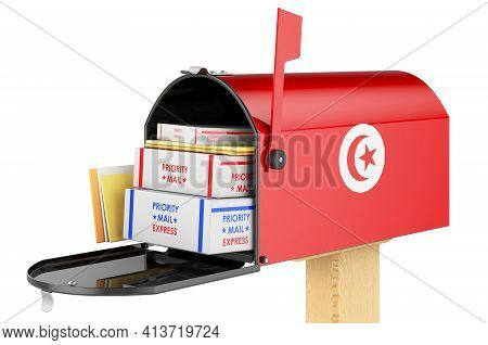 Mailbox With Tunisian Flag With Parcels, Envelopes Inside. Shipping In Tunisia, Concept. 3d Renderin