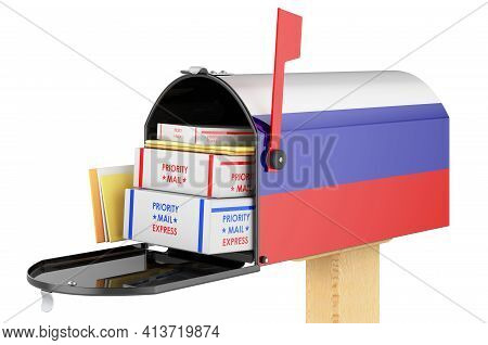 Mailbox With Russian Flag With Parcels, Envelopes Inside. Shipping In Russian Federation, Concept. 3