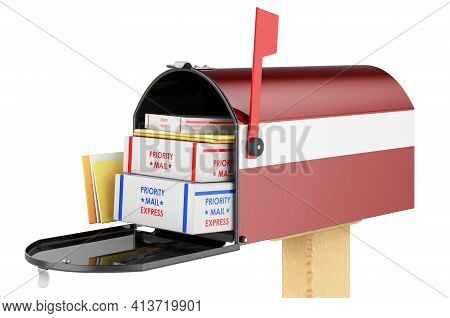 Mailbox With Latvian Flag With Parcels, Envelopes Inside. Shipping In Latvia, Concept. 3d Rendering