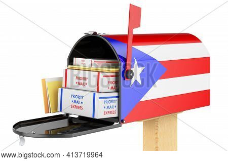 Mailbox With Puerto Rican Flag With Parcels, Envelopes Inside. Shipping In Puerto Rico, Concept. 3d