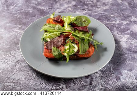 Vegan Sandwich With Vegetables. A Sandwich With Vegetables On A Plate. Square Sandwich On A Plate. S