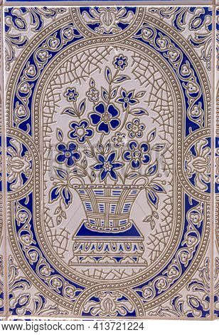 Traditional Ornamental Spanish Decorative Tiles, Original Ceramic Tiles On The Walls Of Buildings