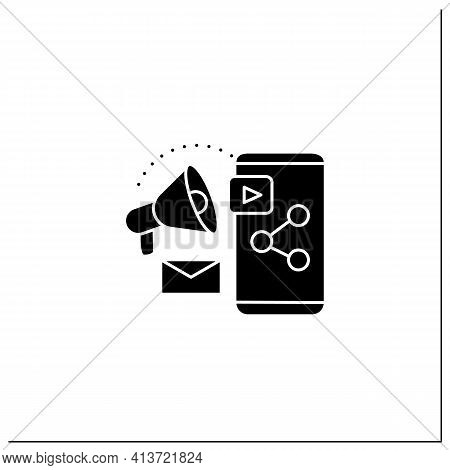 Content Marketing Glyph Icon. Strategic Marketing Focused On Creating And Distributing Valuable, Con