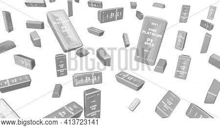 Background With Highest Standard Platinum Bars. A Lot Of Ingots Of 999.9 Fine Platinum Isolated On W