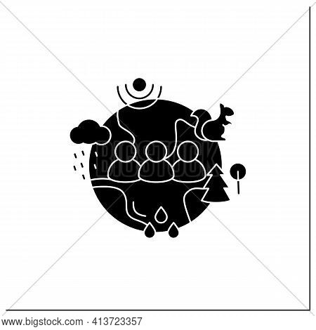 Humans And Ecosystem Glyph Icon.people Impact Ecosystem. Protection Flora, Fauna. Saving Animals, Pl