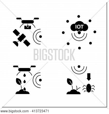 Smart Farm Glyph Icons Set. Consist Of Iot Sensors, Irrigating Land, Pests And Weeds Elimination.agr