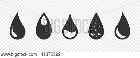 Water Drop Icons. Water Drops Icon Set. Water Or Oil Drop Concept. Vector Illustration