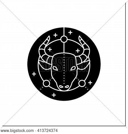 Taurus Glyph Icon. Bull Symbol. Second Fire Sign In Zodiac. Mystic Horoscope Sign. Bullfight, Corrid