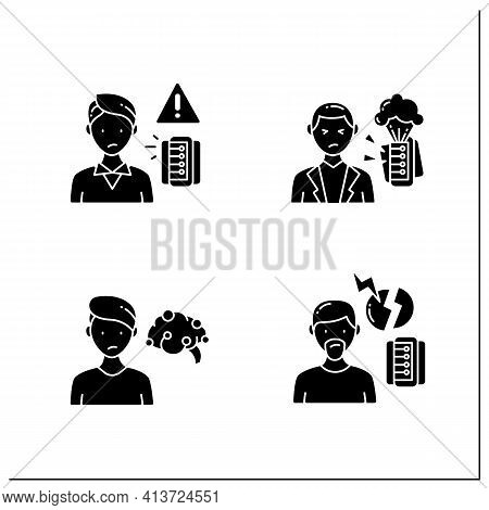 Information Overload Glyph Icons Set. Consists Of Continuous Partial Attention, Information Explosio