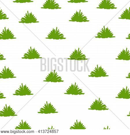 Vector Seamless Pattern With Green Trees And Bushes. White Background. Cartoon Style. Spring And Sum
