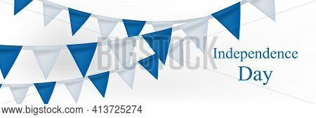 Happy Israel Independence Day Banner With Realistic Bunting Flags. Jewish National Holidays. Vector