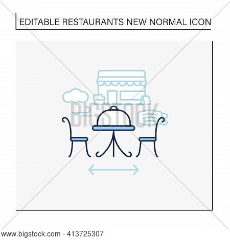 Outdoor Dining Line Icon. Personal Dinner In Restaurant Outdoor.forced Distance.regulation Through C