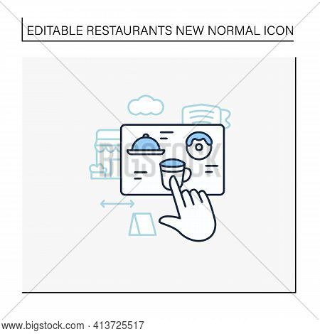 Contactless Ordering Line Icon. Ordering Food At Distance. Online Order. Regulation Through Covid19.