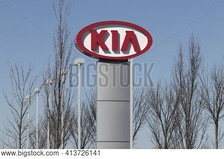 Muncie - Circa March 2021: Kia Motors Local Car Dealership. Kia Motors Is Minority Owned By The Hyun