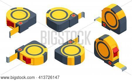 Isometric Set Icons Of Tape Measure Isolated On White Background. Tape-line, Tape Measure For Constr