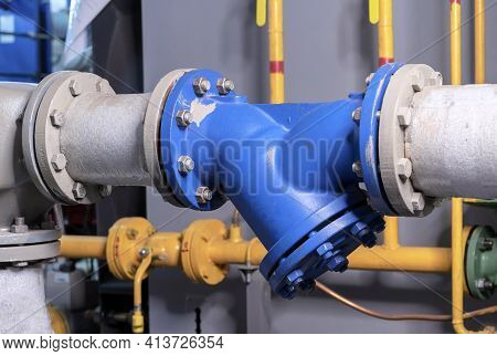 Water Purification Filter And Mud Collector In The Gas Boiler House.