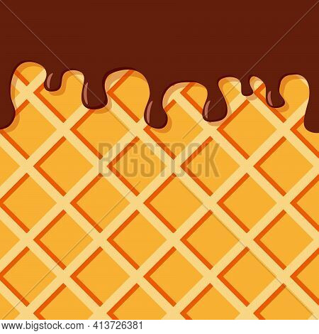 Wafer And Dripping Chocolate.waffle Background For Sites Of Confectionery Shops, Bakeries.
