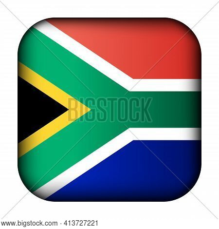 Glass Light Ball With Flag Of Republic Of South Africa. Squared Template Icon. National Symbol. Glos