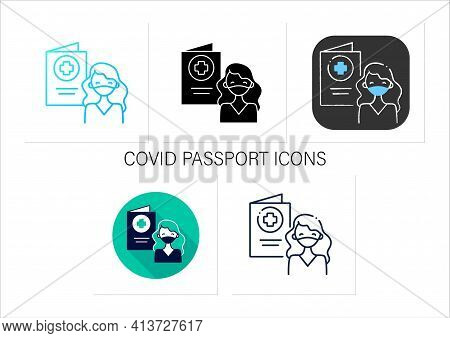 Covid Passport Icons Set.girl In Mask Has Got Necessary Document.note About Health Status.vaccinatio