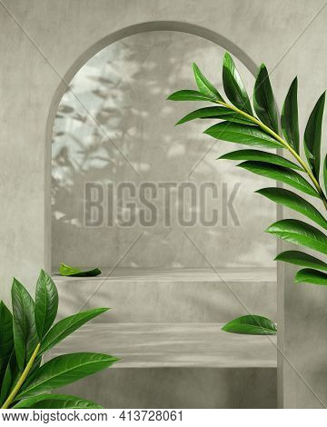 Modern Mockup Empty Concrete Stage For Presentation Product With Tropical Plant And Sunshade Shadow