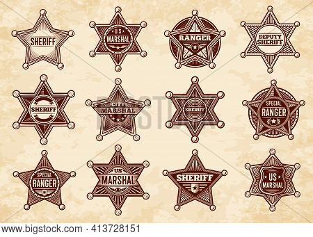 Sheriff, Marshal And Ranger Stars, Vector Badges. Wild West Us Police Vintage Insignias. Graphic Des