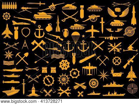 Army Kind Of Troops Heraldry, Badges Or Patches. Vector Bandolier, Sword, Tank And Cannon With Torpe
