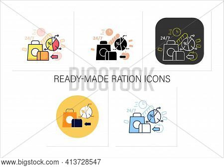 Ready-made Ration Icons Set.delivery Service. Fast, Express Food Delivery And Other Goods.quickly Mo